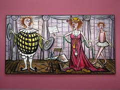 The Opera singer (1991) by Bernard Buffet (Sokleine) Tags: bernardbuffet buffet exhibition exposition art peinture painting tableau museum muse culture mam modernart musedartmoderne paris 75016 frenchheritage france opera operasinger cantatrice musiciens musicians clowns rose pink cirque circus