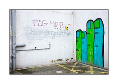 Street Art (Pinch), East London, England. (Joseph O'Malley64) Tags: pinch streetart urbanart graffiti eastlondon eastend london england uk britain british greatbritain art artist artistry artwork mural muralist wallmural wall walls render drainpipes waterdamage frostdamage noparking yellowcrosshatching tarmac stopcock accesscover urban urbanlandscape aerosol cans spray paint skateboarder skateboarding