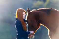 Iris & Katia (Photo-Passion.net) Tags: pferd pferdefotografie tierfotografie nachdenklich rot braun kalt frau rothaarig tier mensch portrait freiberger