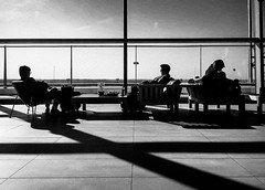 Stand by (yousufkurniawan) Tags: silhoutte blackandwhite monochrome streetphotography streetphoto people shadow line diagonal decisivemoment frame