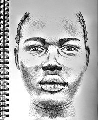 Stiple (Delaney Conner) Tags: africa portrait blackandwhite woman white black art lady contrast notebook drawing lips dot faded lip fade dots blend stiple