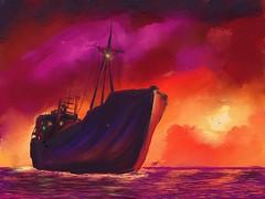 Off Penang (Pat McDonald) Tags: sunset sea singapore ship digitalpainting malaysia penang artrage starboard vision:night=0892 petrosasimomytis