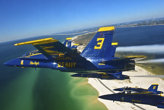 Blue Angels fly in delta formation.