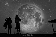 moon travelers......** (Love me tender .**..*) Tags: sky moon girl monochrome stars photography digitalart greece imagination silouettes attica dimitra parnitha creativemindsphotography nikond3100 kirgiannaki