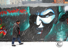 Old Man Winter (jaland0ni) Tags: winter white snow newyork man cold berlin brooklyn graffiti mural sad freezing banksy anger artists lonely unemployed nofriends nojob