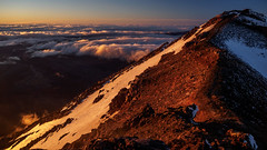 Summit of Mt Ngauruhoe. (blue polaris) Tags: park new morning travel newzealand cloud mountain snow ice sunrise landscape island volcano climb spring scenery mt crossing cloudy plateau north central foggy olympus lord mount lotr rings zealand alpine national crater doom tongarironationalpark northisland tongariro volcanic ngauruhoe omd the em5 centralvolcanicplateau spring2013 tongarironationalparkmtngauruhoesunrisesummitclimb