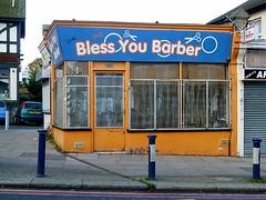 bless you barber (helenoftheways) Tags: london shop you pavement scissors barbershop barber bless catford bollards blessyou shopsigns