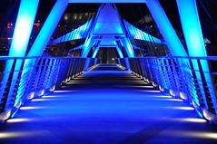 Pathway So Bright - Tempe Town Lake Pedestrian Bridge at Night - #10 (Blue Rave) Tags: nightphotography bridge blue arizona color colour colors architecture night lights vanishingpoint nightimages colours az walkway nightshots pathway tempe thecolorblue pedestrianbridge tempetownlake pedestrianwalkway 2013 tempetownlakepedestrianbridge