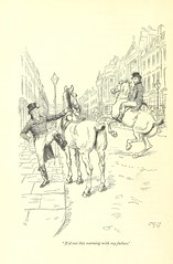 Image taken from page 80 of 'Northanger Abbey and Persuasion ... With illustrations by Hugh Thomson and an introduction by Austin Dobson' (The British Library) Tags: city horses men large riding publicdomain citystreet page80 austenjane vol0 bldigital mechanicalcurator pubplacelondon date1897 sysnum000144597 imagesfrombook000144597 imagesfromvolume0001445970