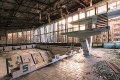 Diving board, Pripyat, Chernobyl, Ukraine 2013 (liam_davies) Tags: school abandoned accident empty nuclear ukraine swimmingpool bumper disaster soviet rubble pripyat