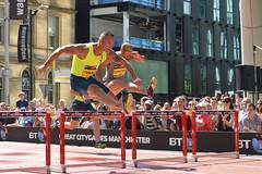 Andy Turner and Felix Sanchez (nickcoates74) Tags: manchester nikon hurdles deansgate 2014 bbcsport d3200 andyturner felixsanchez 35mmf18g greatcitygames