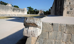 Serpent Statue and Great Ballcourt, Chichen Itza (Oliver J Davis Photography (ollygringo)) Tags: travel heritage history archaeology statue stone architecture buildings court mexico mesoamerica temple construction ancienthistory ancient nikon ruins maya stonework masonry yucatan carving unescoworldheritagesite worldheritagesite arena chichenitza yucatán ballgame mayan civilization serpent archeology civilisation americas mayas precolombian centralamerica worldheritage basrelief ballcourt d90 yucatánpeninsula greatballcourt oliverdavisphotography oliverjdavisphotography