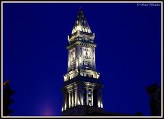 Lighted Custom House Tower (Renal Bhalakia) Tags: tower clock boston marriott ma hotel massachusetts clocktower financialdistrict customhousetower mckinleysquare nikon18200mmvr nikond80 renalbhalakia