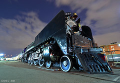 """The Living Legend in Kansas City, MO (""""Righteous"""" Grant G.) Tags: up union pacific railroad railway locomotive train trains steam living legend kansas city station night evening passenger special alco"""