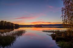 Prime autumn (PixPep) Tags: autumn nysockensjn norserud rud arvika sweden sverige vrmland pixpep lake sunset blue red