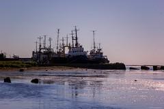 sunset in Nevelsk (larisadobriyanova) Tags: sunset landscape coast ships masts docks port ocean shadow sunlight