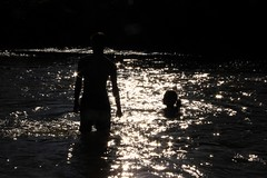 clat (La boite de Pandore) Tags: river swin shine people against light