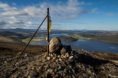 Struie Hill (kar1187) Tags: trig point rocks hill struie highlands scotland ocean ardgay flag clouds sky camera walking colours bright rural contrast wow day hiking rossshire ross shire tain