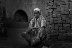 Lost in thought (kevinkishore) Tags: indian women woman brickkiln bricks worker work people routine struggle hardship mother tamil tamilnadu south southindia chengalpattu outdoor black white monotone monochrome