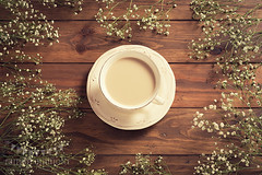 Coffee time (Ramn Antiolo) Tags: vintage retro stilllife lifestyle traditional cozy overheadview topview flatlay wooden table gypsophila paniculata floral white spring flower blossom coffee espresso cup caffeine morning