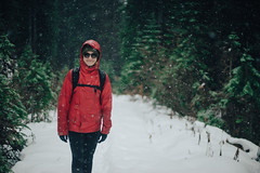 Brianne on a snowy hike. (JeffAmantea) Tags: snow girl pretty forest winter red snowing sony alpha a7ii nikkor 50mm 14 outside outdoors kokanee glacier provincial park kootenays kootenay bc british columbia canada nelson lake trees tree view mountain hike