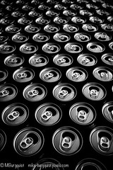 Cans (Mike Burgquist) Tags: cans can alcohol aluminum bw beer beverage bottle canned carbonated closeup blank cola cold container