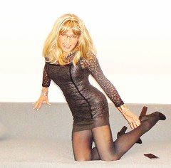 oh I think I am the oldest girl playing on a sofa ... but that doesnt matter (Katvarina) Tags: crossdress crossdresser crossdressing tgurl tgirl lbd heels metrosexuality blackdress lace tight