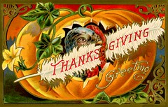 Thanksgiving GreetingTurkey in a Pumpkin (Alan Mays) Tags: ephemera postcards greetingcards greetings cards paper printed thanksgiving holidays november turkeys birds poultry animals food pumpkins feathers wattles flowers hiding inside borders illustrations curves scrollwork orange red gold green 1910s antique old vintage typefaces type typography fonts thanksgivingseriesno3 seriesno3 series3 postcardseries