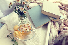 Cup of tea, macaroons, chrysanthemum flowers and books (victoria.kondysenko) Tags: tea table temptation floral dessert chrysanthemum white spring sweet beverage flower drink life lay cup breakfast teatime blossom traditional cozy crockery time lifestyle retro still cake sugar pastry wooden vintage macaroons fresh hot book tray blanket yellow light