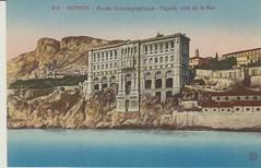 Musee Oceanographique Monaco early 1900's. (Bennydorm) Tags: musee museum oceanographique building architecture water sea sky coast hills monaco europe 1900s 20thcentury vintage postcard cartepostale mer cote facade