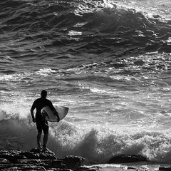 Waiting to jump (OzzRod) Tags: pentax k1 sigmadg120400mmf4556 surfing surfer ocean sea swell waves monochrome blackandwhite intothesun merewether newcastle