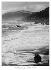 Monolith, Storm, Winter Surf (G Dan Mitchell) Tags: northern california monolith tower rock break surf waves pacific ocean mountains clouds fog storm blackandwhite monochrome landscape nature
