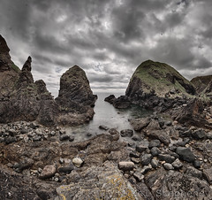 Rocks (M6021263-raw b 0pvh3) (Mel Stephens) Tags: uk panorama seascape rock landscape coast scotland rocks aberdeenshire olympus panoramic coastal zuiko stitched omd ptgui muchalls 2013 em5 918mm 20130602