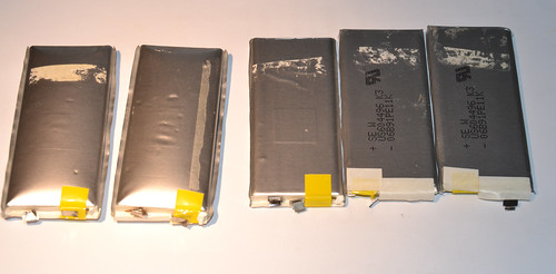 Batteries separated from the main board.
