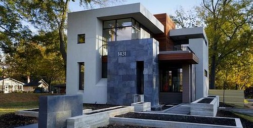 fachada de casas modernas con piedras
