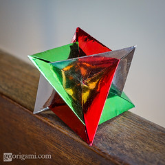 XYZ - Rombi (Maria Sinayskaya) Tags: origami folded a4 planar modularorigami foilpaper intersectingplanes silverrectangle francescomancini rectangle1sqrt2