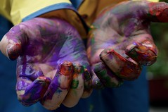Rainbow Fingers on a Rainy Day (.sarah444.) Tags: childhood hands paint play fingers fingerpaint