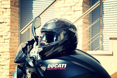 Ducati Monster 696 (Richard Langmajer) Tags: black monster helmet motorbike moto motorcycle carbon fiber ducati matte carbonfiber kevlar 696 nakedbike heldhelmet