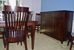 Thick Top Table & Matching Buffet (Brian's Furniture) Tags: brown 20d table 1 maple doors all panel top leg rich x full made american shaker extension reverse elegant simple tobacco drawers 34 thick hardwood slab solid raised 60l 44h glides