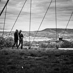 a walk with a view (city/human/life (very busy)) Tags: park autumn people blackandwhite bw white black berg stairs germany deutschland nikon stuttgart herbst tourists menschen september sw sight aussicht visitors turm quarry schwarz besucher chl observationtower hgel badenwrttemberg weis killesberg killesbergturm publicpark