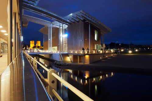 New and old Oslo landmarks - The town hall and Astrup Fearnley Museum of modern art at dusk