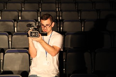 Ultimate Hipster (Anna Rawe) Tags: camera light shadow man film studio lights glasses technology audience chairs hipster seats filming fabolous