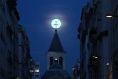 Crucified moon (Croix-roussien) Tags: lyon moon lune croix clocher nuit night insolite sacré mystique graphic graphique perspective nationalgeographic religious religieux fabuleuse
