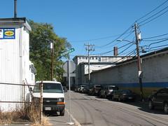 Street (aaron.knox) Tags: boston ma massachusetts powerlines hydepark parkedcars selfstorage
