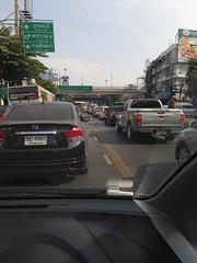 Traffic jam on Lad Phrao road, Bangkok, Thailand (UweBKK ( 77 on )) Tags: auto road street city bridge urban signs bus cars car sign thailand asia traffic 5 bangkok pedestrian pickup lane lad motor southeast jam iphone phrao totallythailand