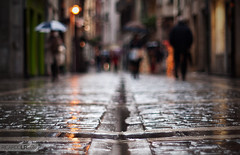 5/365 Rainy day (Photographordie) Tags: street city rain project lights lluvia dof bokeh ground olympus 365 om umbrellas pamplona navarra irua nafarroa dadelluvia zuiko5014 e620