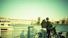 A romantic winter's day (Indofunk Satish) Tags: nyc bridge film brooklyn boat crossprocessed ship manhattan brooklynbridge agfa agfaprecisa olympusxa streetshot c41 precisa homedeveloped tetenal