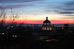 Pink colors of the sunset. (marco_ask) Tags: blue sunset red sky italy church nature colors canon landscape geotagged photography eos europa europe italia tramonto nuvole chiesa cielo duomo sole colori brescia lombardia citt chiese 2fav marcoask mesegennaio