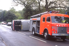 Whoops!  Work632 001sm (Preselector) Tags: accident olympus fireengine xa dennis westmidlands mcw metrorider 632 d632noe pob972r