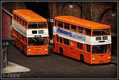 Londoners up North (Zippy's Revenge) Tags: bus scale model transport an diorama efe daimler fleetline mcw diecast dms gmpte greatermanchester 2327 2320 code3 oogauge metrocammell lancashireunited dmsclass exclusivefirsteditions 176thscale mlh407l mlk588l